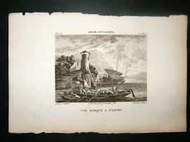 After Adam-Pyncker C1810 Antique Print. Une Barque A l'Ancre
